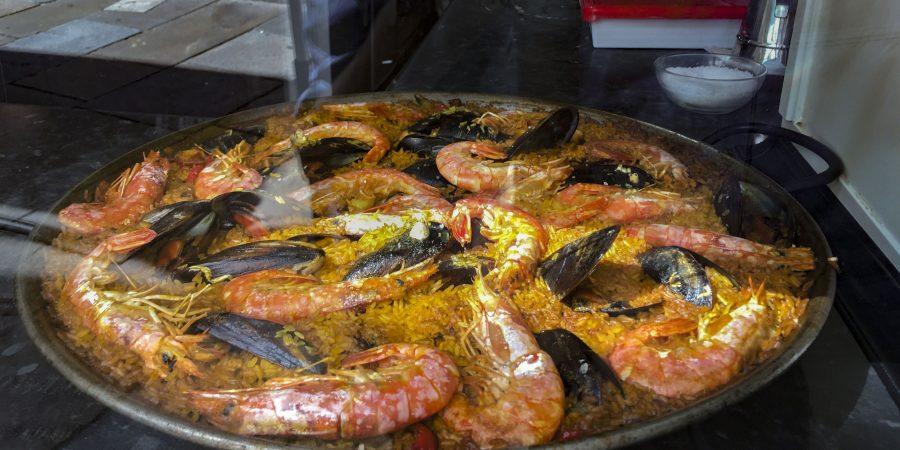Large pan of Paella