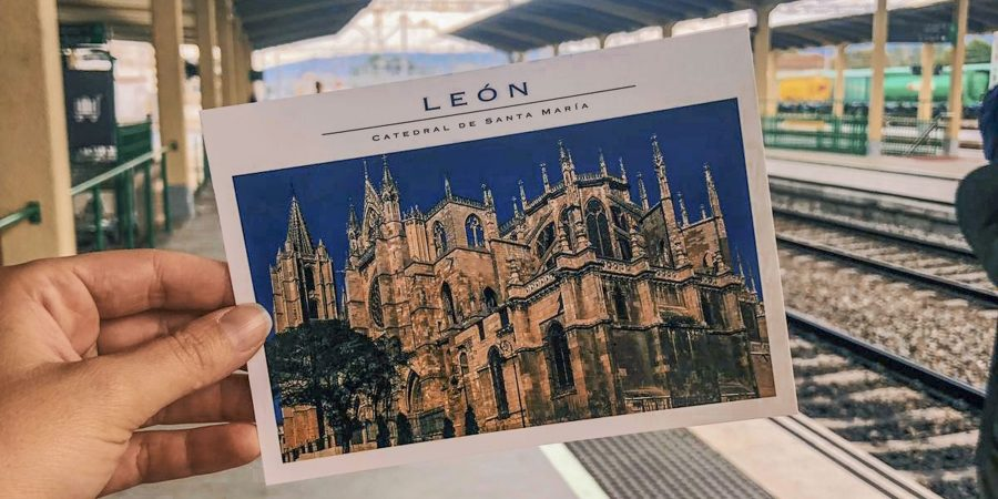 Post Card from Leon held in hand